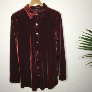 Red velvet button down blouse